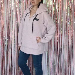 VS PINK pale pink Sherpa pullover hoodie spell out